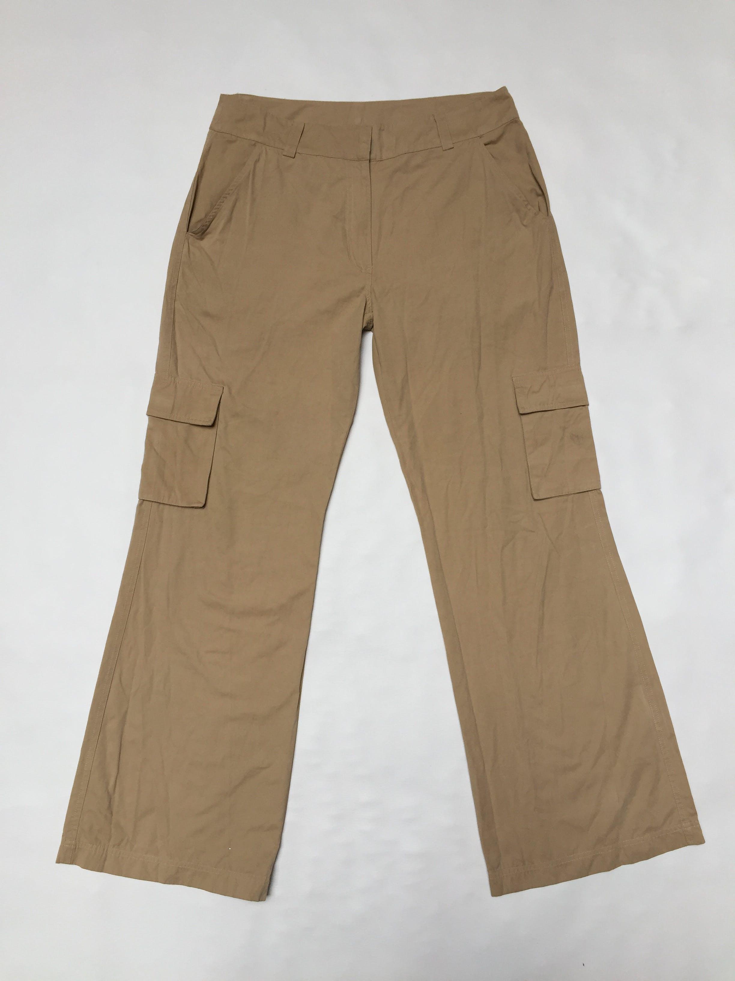 Pantalón cargo beige, 32% algodón, corte recto Talla XL
