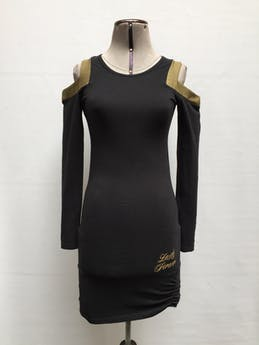 Vestido negro con calado en los hombros, manga larga, escote redondo y fruncido en los laterales de la basta, ligeramente strech Talla XS/S foto 1