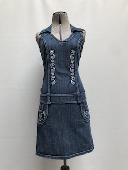 Vestido jean cuello halter camisero con bordado plateado y aplicaciones de strass Talla S foto 1