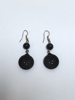 Aretes de botón negro Largo: 4 cm foto 1