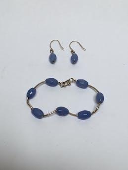 Conjunto de pulsera y aretes de plata 950 con piedras ovaladas en tono celeste Largo de pulsera: 19 cm Largo de aretes: 1,5 cm foto 1