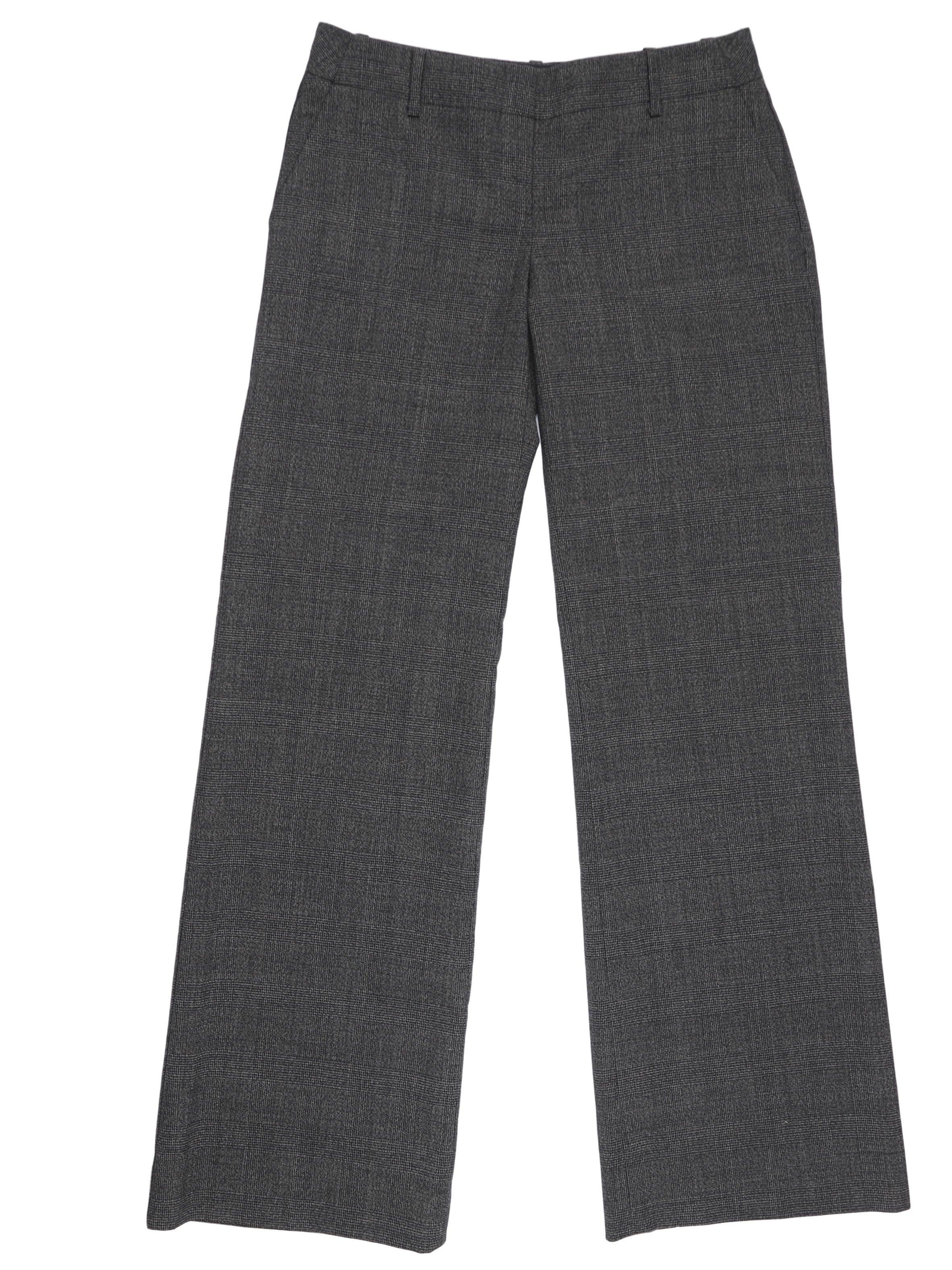 Pantalón The Limited a cuadros grises, bolsillos laterales y posteriores, corte semi palazzo, lleva forro. Pretina 78 cm. Precio original S/ 280