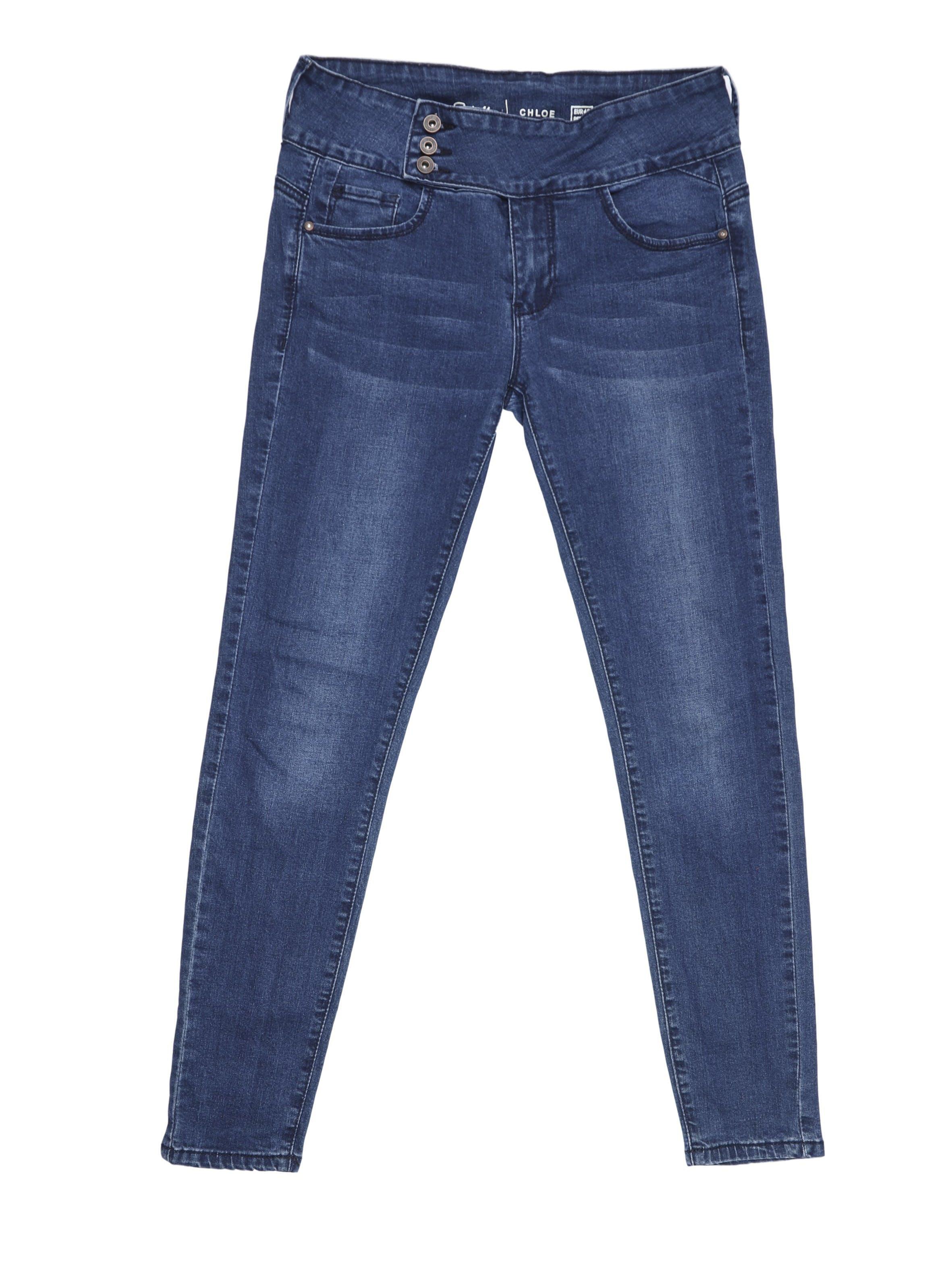 Jean pitillo Sybilla azul con ligero focalizado, 75% algodón ligeramente stretch. Pretina 78cm