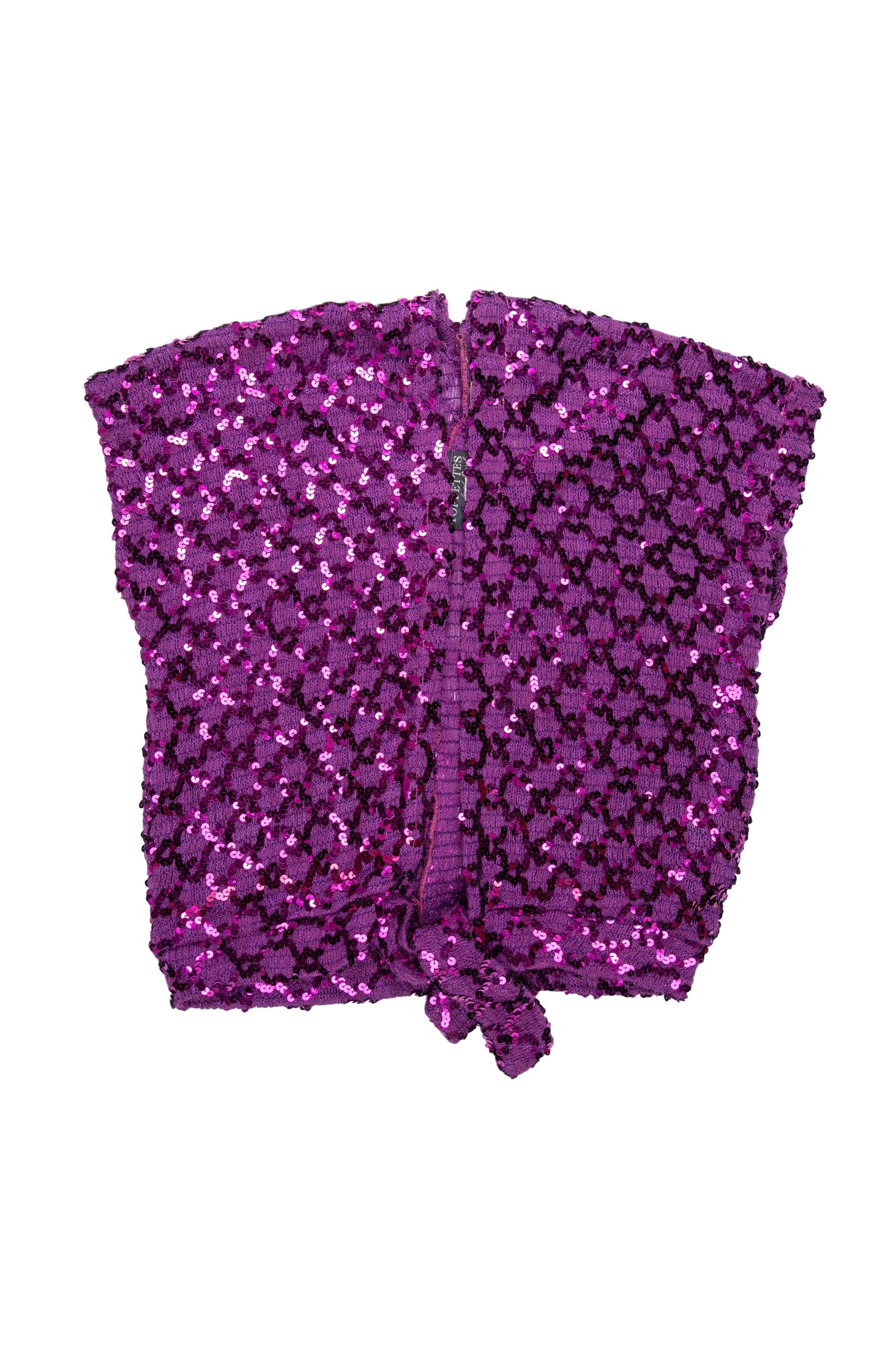 Cardigan vintage tejido morado con lentejuelas, se amarra a la cintura. Una pieza! Talla M