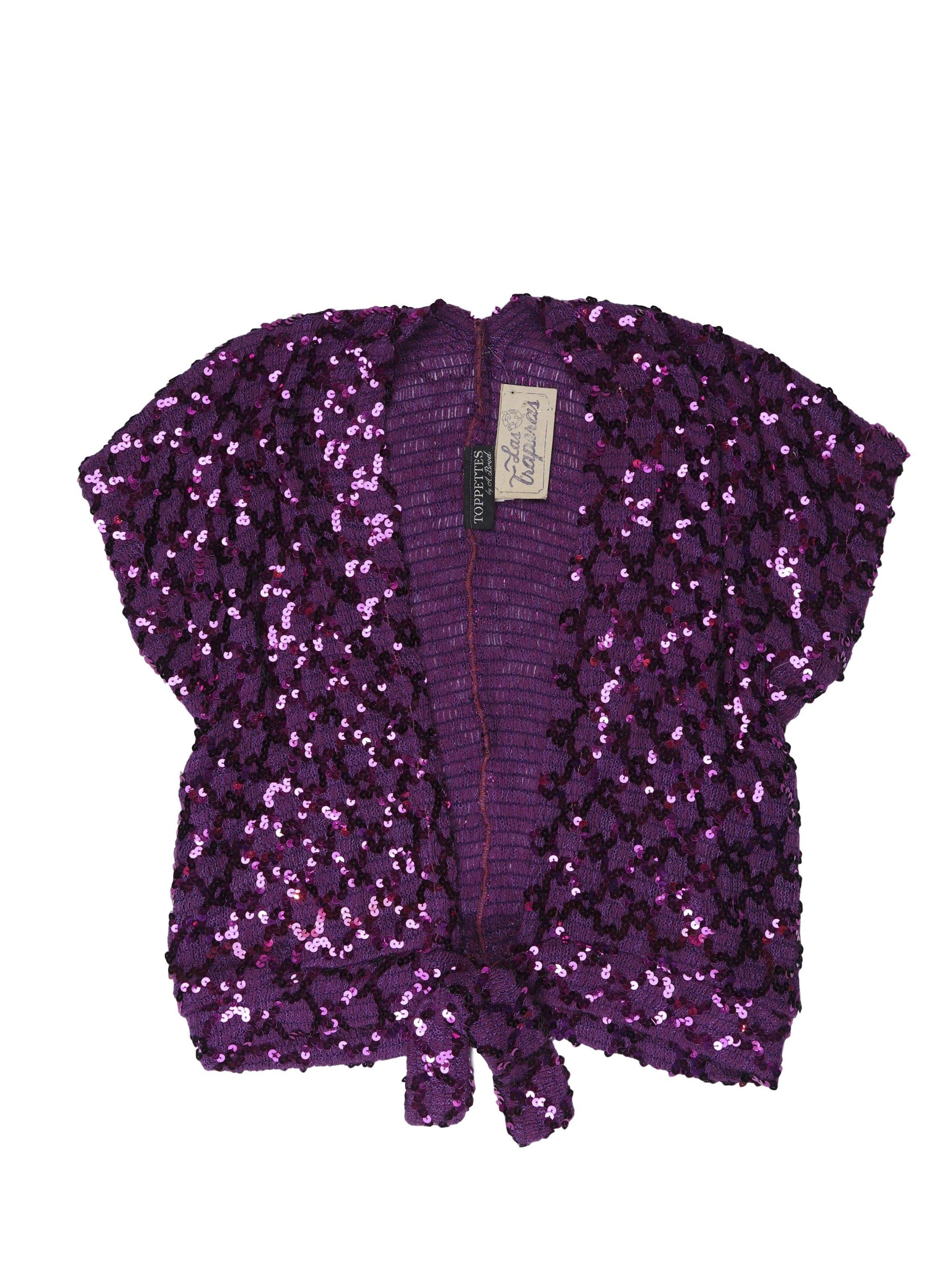 Cardigan vintage tejido morado con lentejuelas, se amarra a la cintura. Una pieza!