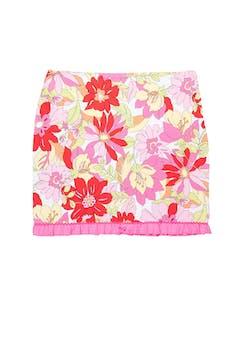 Falda de drill con estampado de flores, cierre lateral y bobos plisados en la basta. Cintura 84 cm, largo 48 cm  foto 1