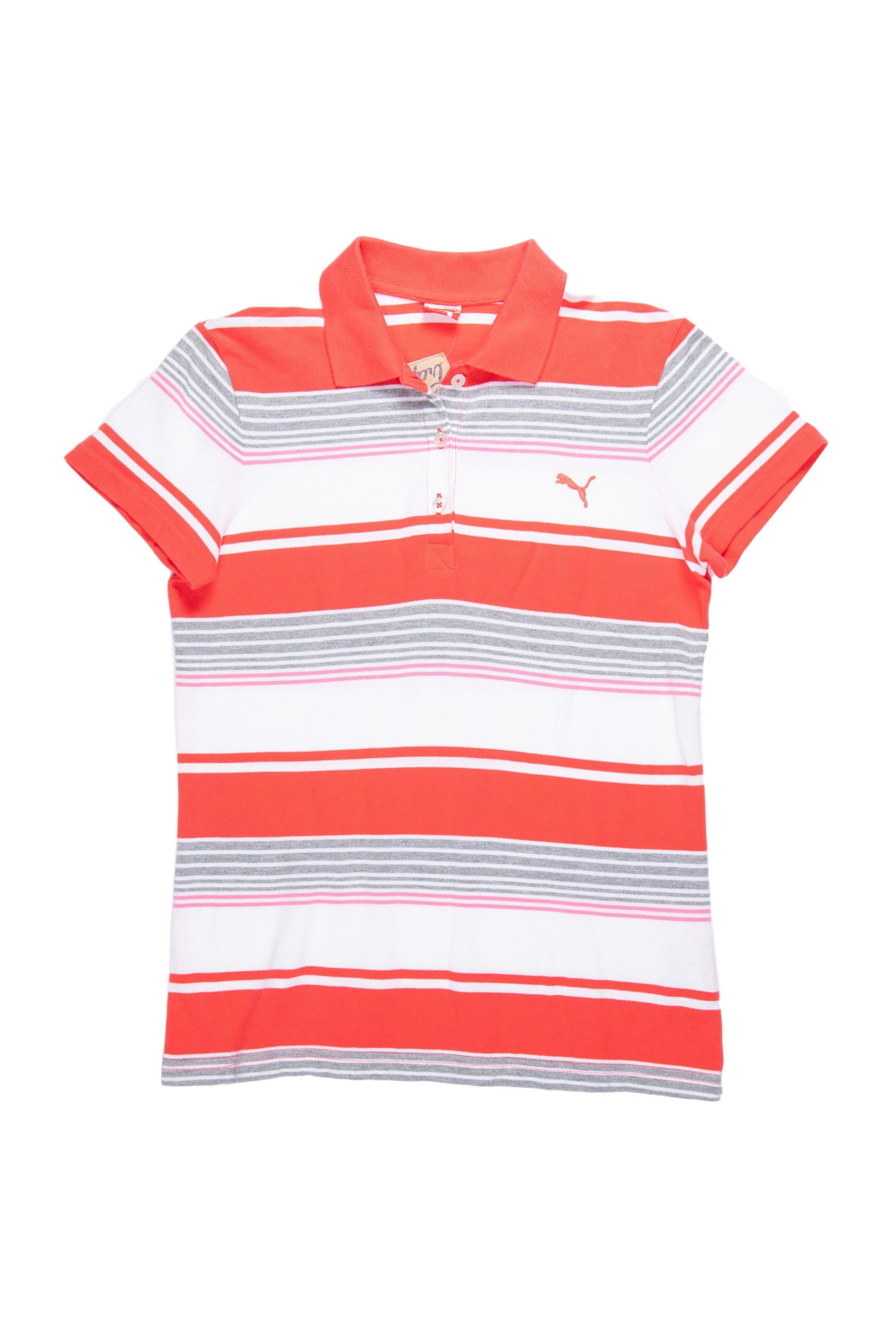 Polo Puma 100 % algodón piqué a rayas rojas y blancas, cuello camisero y botones transparentes. Busto 92cm