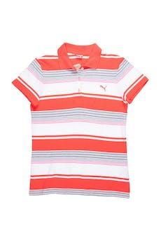 Polo Puma 100 % algodón piqué a rayas rojas y blancas, cuello camisero y botones transparentes. Busto 92cm foto 1