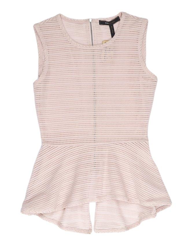 Blusa peplum BCBGMaxazria tela palo rosa calada con cierre en la espalda. Un clásico de la marca ¡Hermosa y sentadora! Precio original S/ 350 foto 1
