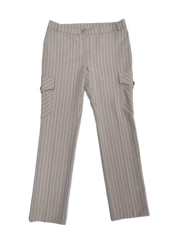 Pantalón Mango beige con rayas al tono, corte recto con bolsillos cargo laterales. Precio original S/ 190 foto 1