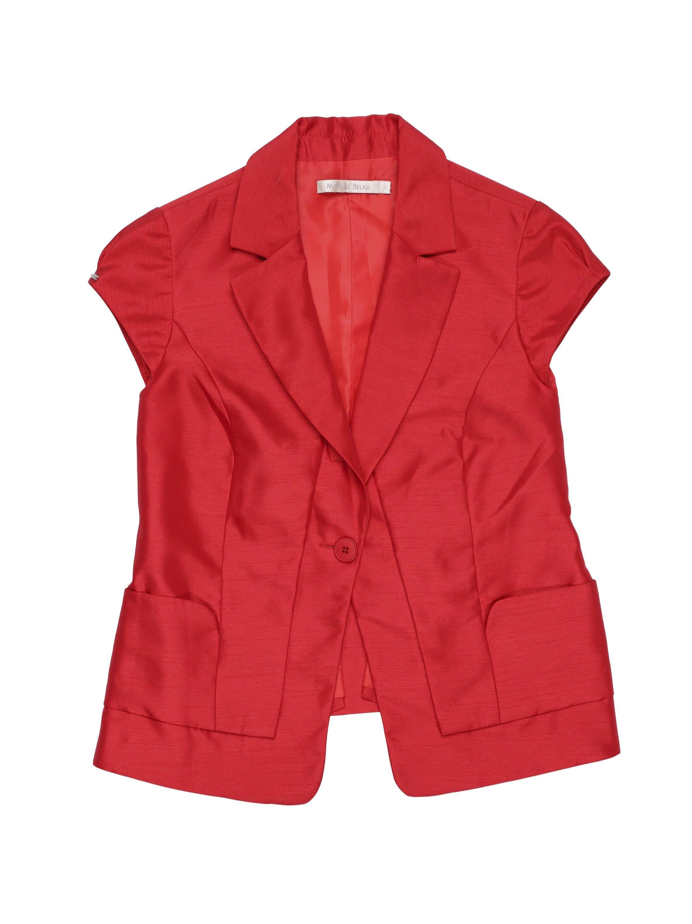 Blazer rojo Michelle Belau, con solapa, 1 botón, 2 bolsillos y forro