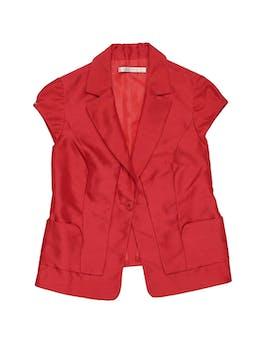 Blazer rojo Michelle Belau, con solapa, 1 botón, 2 bolsillos y forro Talla L foto 1