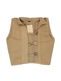 Chaleco beige 75% algodón con ojalillos tipo pita y botones de madera. Busto 92 cm. Lindo! foto 1