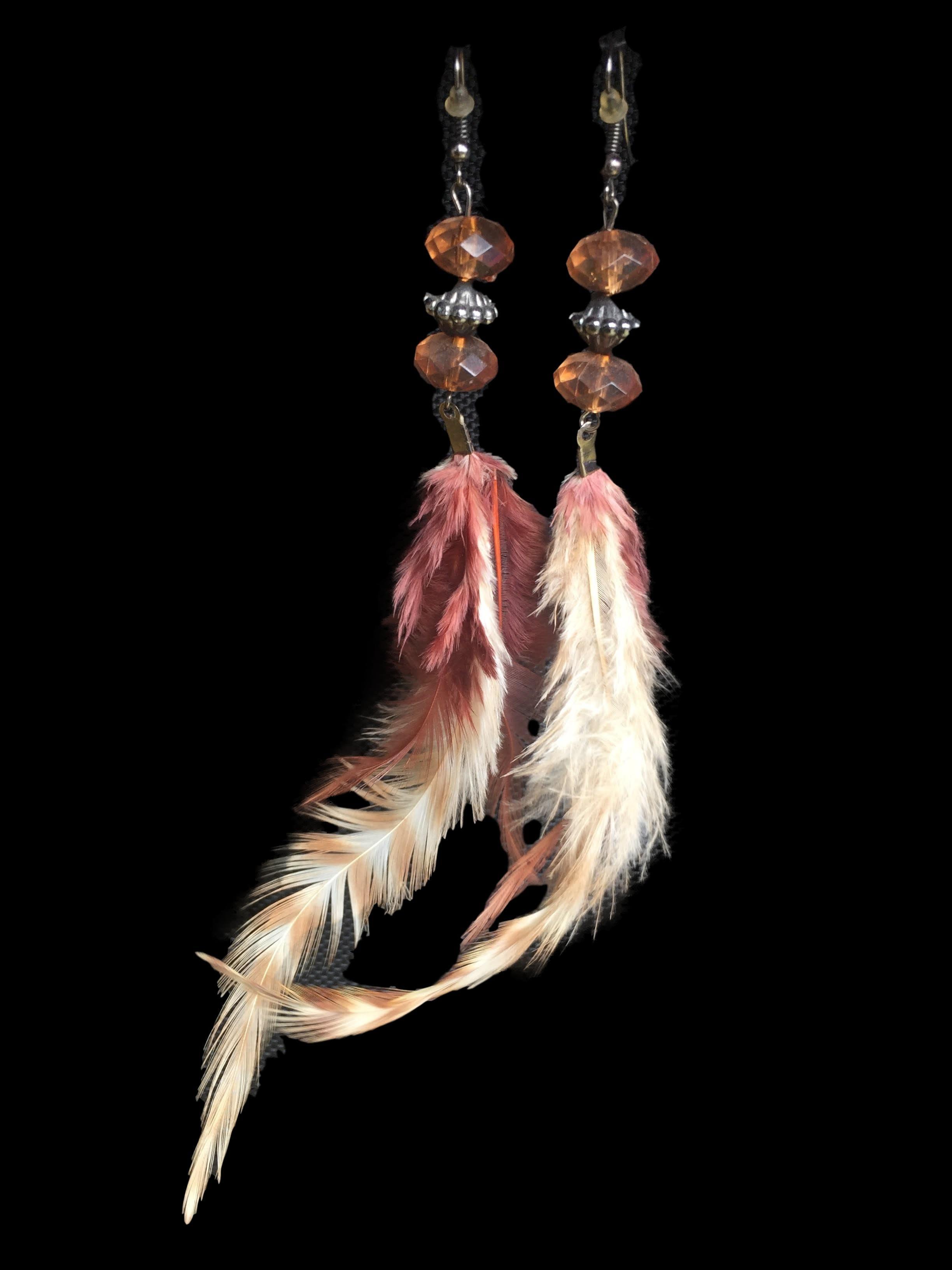 Aretes largos con pluma y piedras facetadas. Largo 15cm
