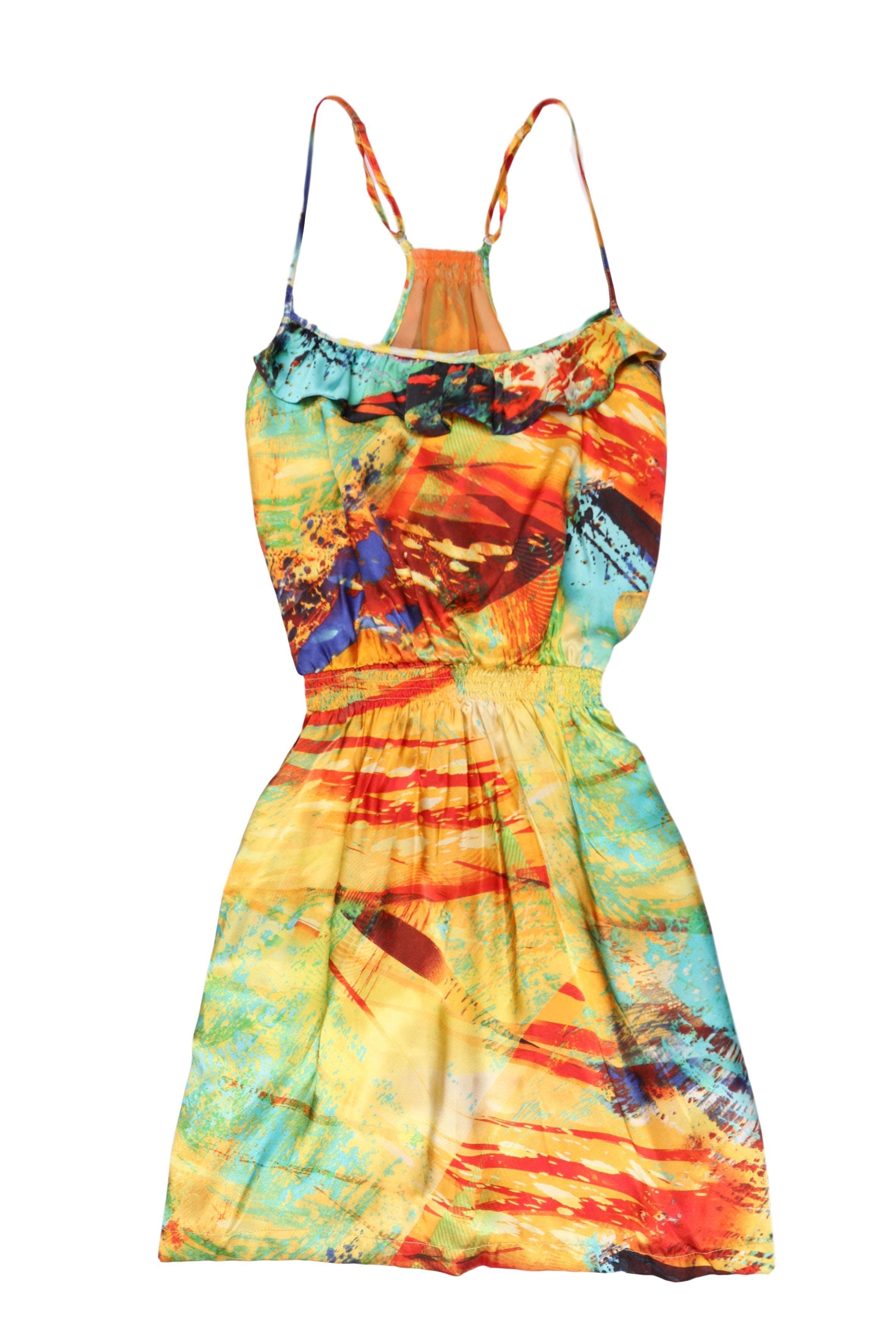 Vestido Dejavu de tela satinada multicolor, volante en el pecho, panal de abeja en la cintura y falda con bolsillos, lleva forro. Busto 90cm Largo 85cm