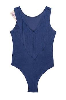 Body azul piel de durazno, con flecos en el pecho. Busto 80cm  foto 1