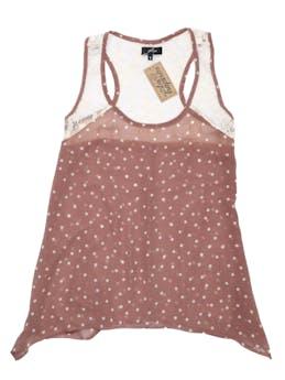 Blusa con polka dots crema, encaje en hombros y espalda alta. Busto 90 cm. foto 1