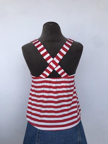 Polo de algodón a rayas balnco y rojo, con tiras cruzadas en la espalda Talla S foto 2