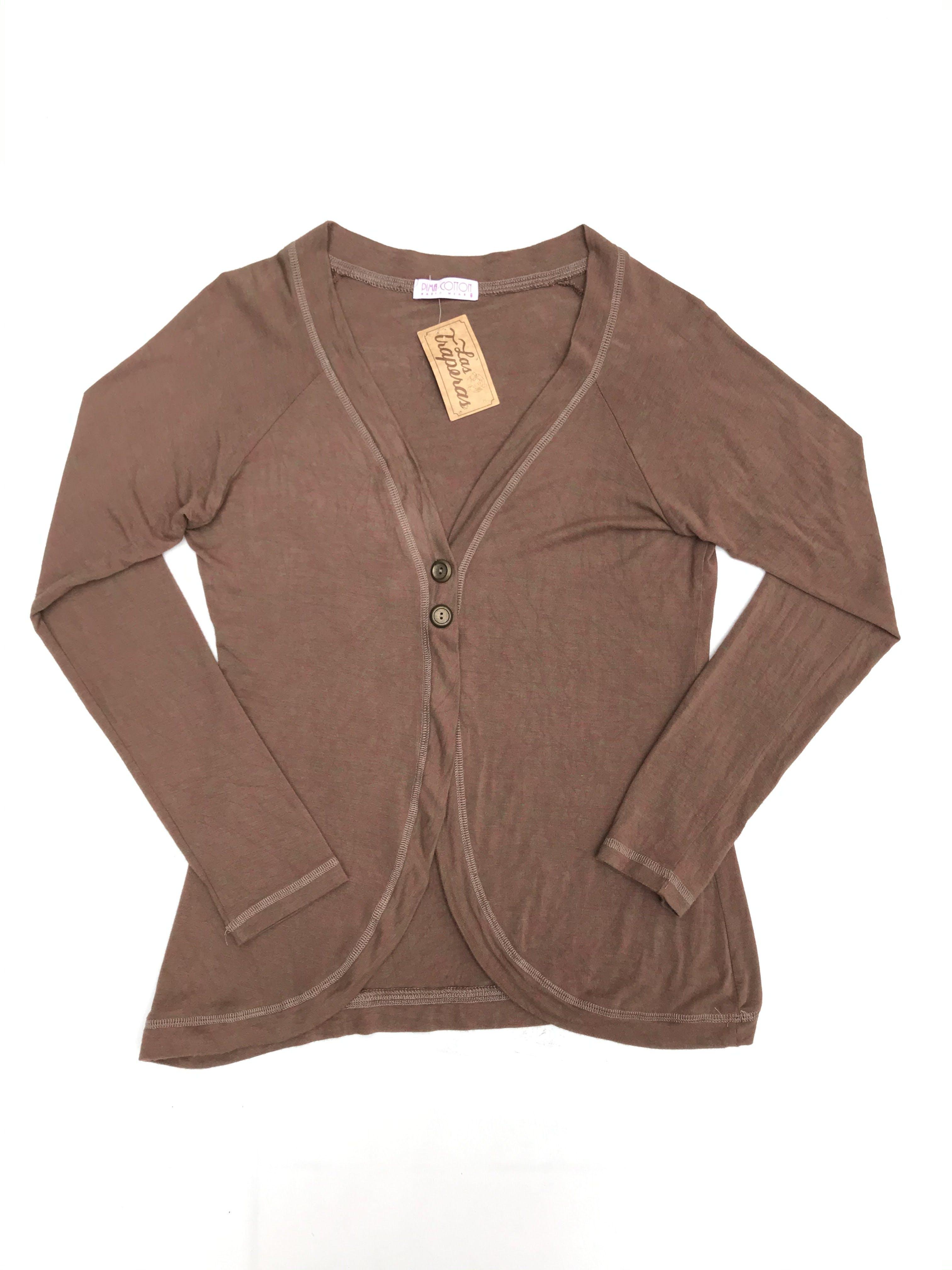 Cardigan jaspeado marrón y rosado, algodón pima rico al tacto