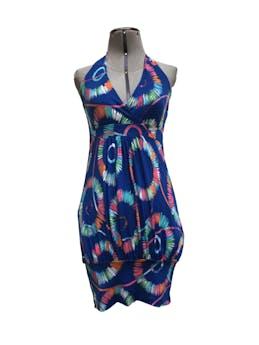 Vestido azul cuello halter y pretina en la basta, tela tipo lycra. Muy lindo! Talla S foto 1