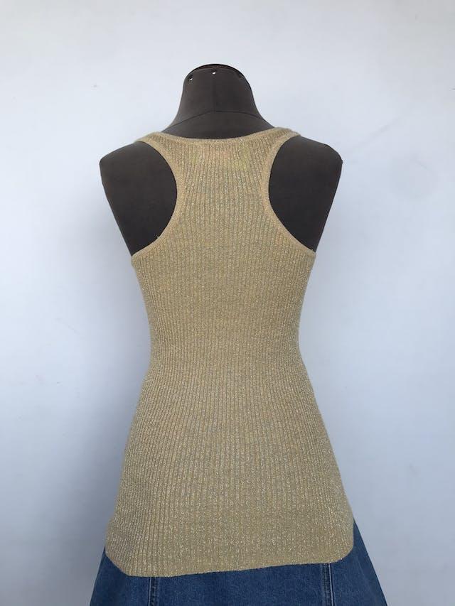 Bvb dorado de tela acanalada con brillantes, 52% ramie 25% rayón, espalda olímpica Talla M/L foto 2