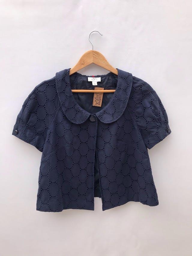 Casaca Ann Taylor Loft azul 100% algodón, forrada, cuello bebé con un solo botón. Nueva! Precio original S/ 350 foto 1