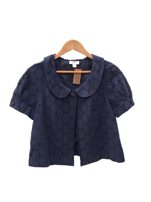 Casaca Ann Taylor Loft azul 100% algodón, forrada, cuello bebé con un solo botón. Precio original S/ 390 foto 1