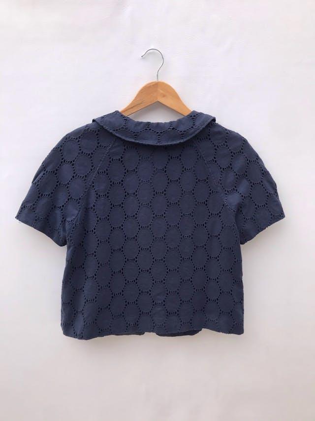 Casaca Ann Taylor Loft azul 100% algodón, forrada, cuello bebé con un solo botón. Nueva! Precio original S/ 350 foto 2