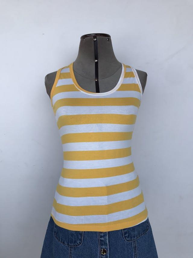 BVD a rayas amarillas y blancas, tela tipo algodón stretch y espalda olímpica.  Talla S foto 1