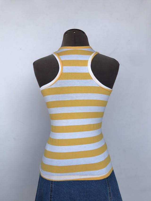 BVD a rayas amarillas y blancas, tela tipo algodón stretch y espalda olímpica.  Talla S foto 2