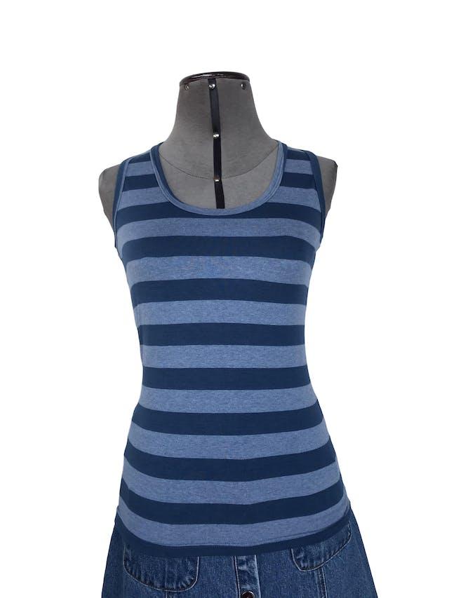BVD a rayas en tonos azules, tela tipo algodón stretch y espalda olímpica. Talla S foto 1