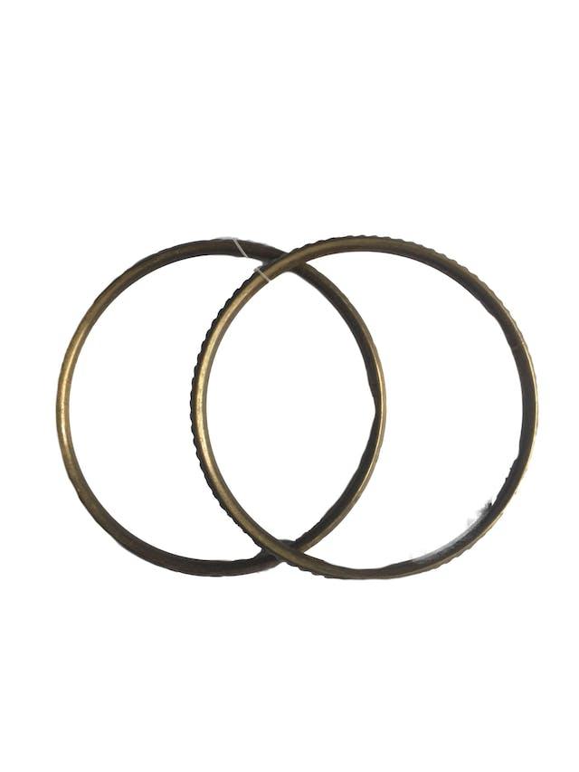 Pack 2 pulseras labradas en tono bronce foto 1