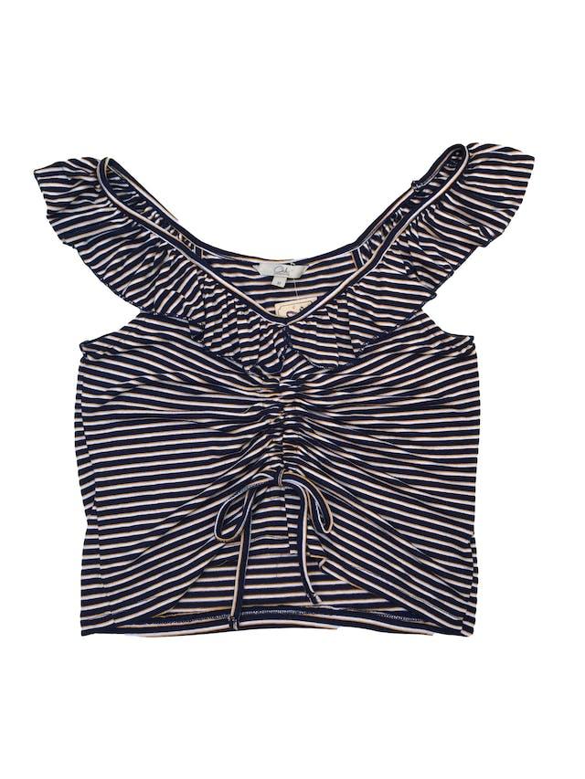 Top Clockhouse a rayas azules, amarillas y cremas, volante en el cuello y lace up central, tela tipo algodón stretch foto 1