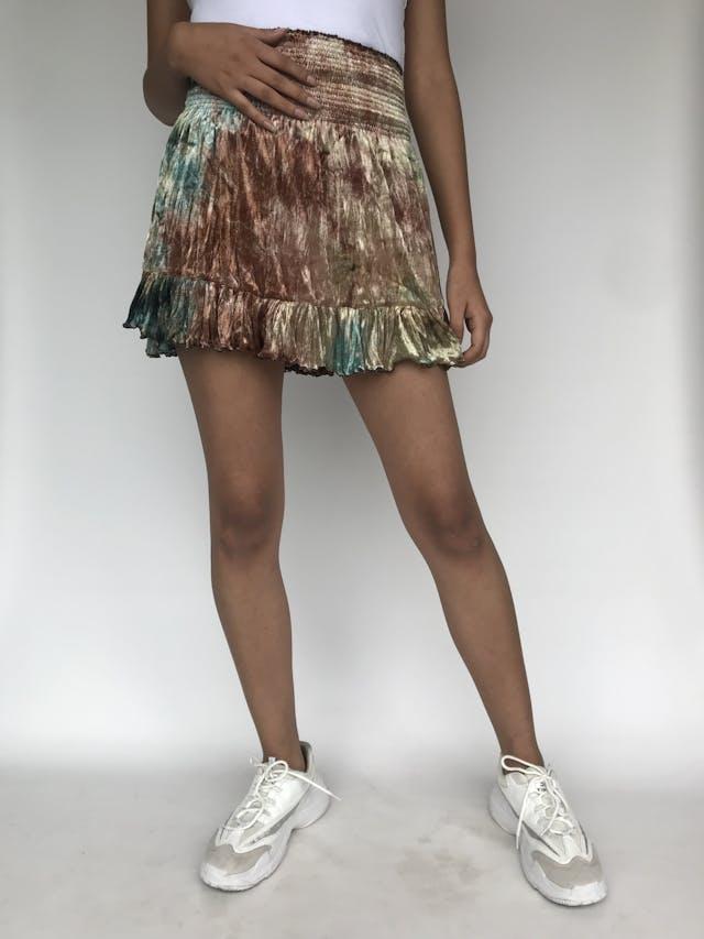 Falda mini de terciopelo marrón y turquesa, pretina panal de abeja y volante en la basta Talla S foto 1