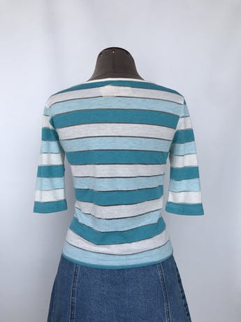 Polo Unlimited en franjas celesets y blancas, 100% algodón, manga 3/4 Talla S foto 2