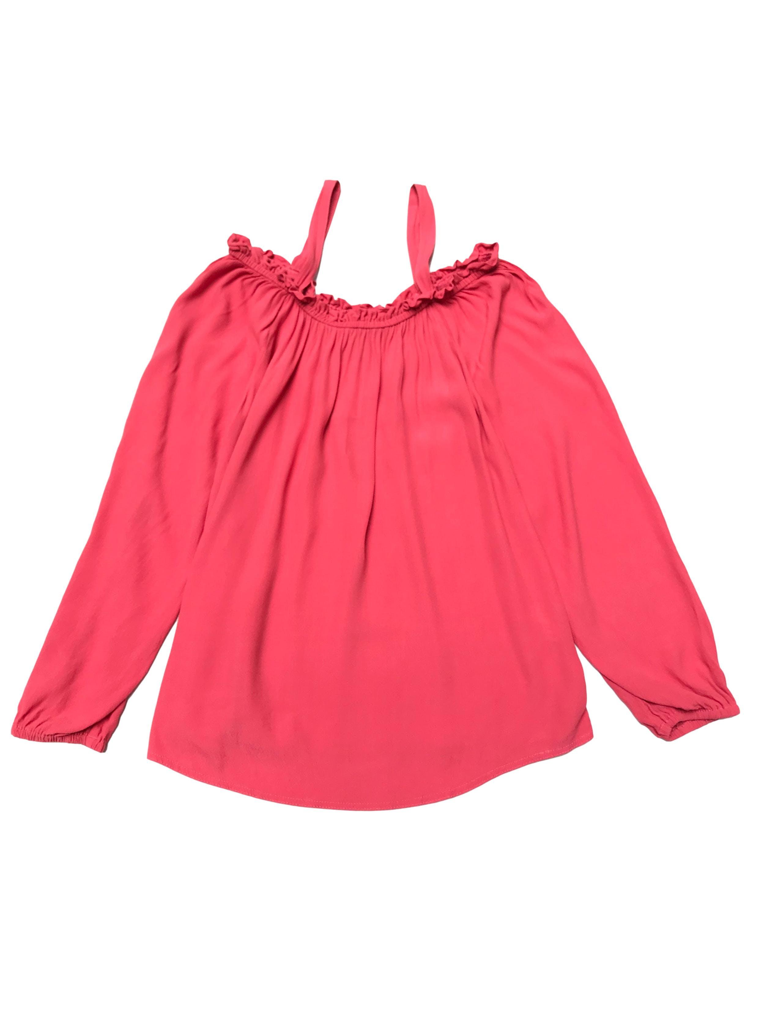 Blusa Navigata off-shoulder con tiras coral, elástico en los puños, suelta Talla M