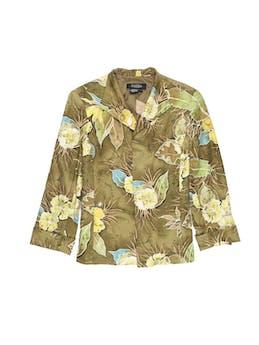 Blazer Peck&Peck 70% seda 30% algodón, estampado de flores en tonos verdes, forrado, con solapas y manga 3/4 con dobladillo en puños.  foto 1