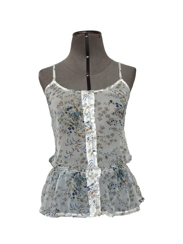 Blusa Dunkelvolk de gasa blanca con estampado de flores azules y verdes, fila de botones y elástico en la cintura. Nuevo con etiqueta S/. 119 foto 1