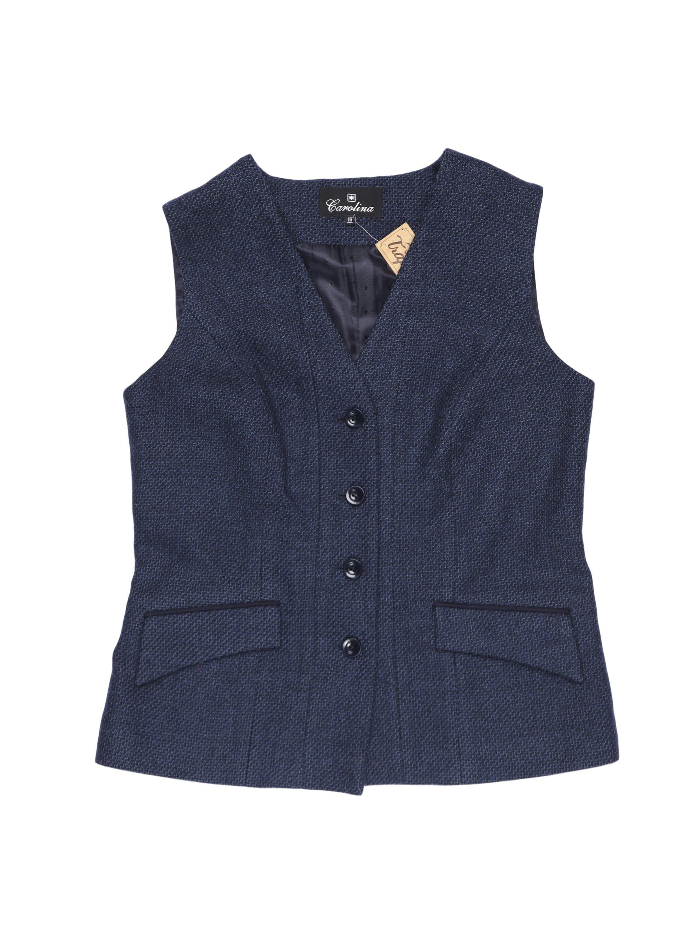 Chaleco Carolina 100% lana azul, forrado, con bolsillos delanteros. Busto 108 cm