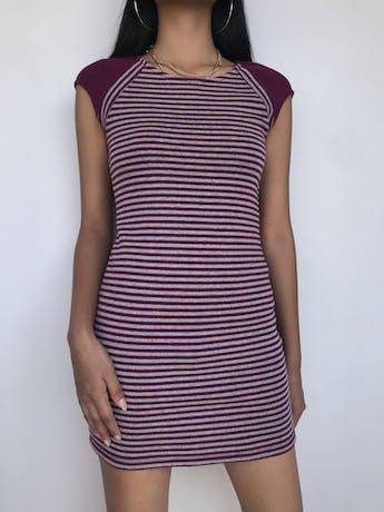 Vestido tejido a rayas moradas y plomas, ligeramente stretchTalla S foto 1