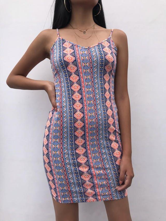 Vestido de tiritas con estampado tribal en tonos anaranjado y azules, 95% algodón stretch, escote en V Talla S foto 1