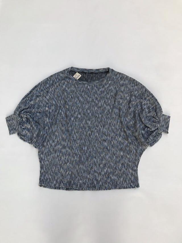Chompa de hilo jaspeado azul y plomo, manga murciélago 3/4, suelta Talla M foto 1
