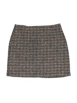 Falda mini de tweed en tonos marrones, 100% lana, forrada, con cierre y botón posterior, corte recto. Linda! Talla S foto 1