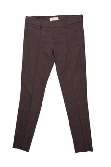 Pantalón pitillo Essentiel marrón jaspeado, con pinzas, tiro medio. Pretina 80 cm foto 1