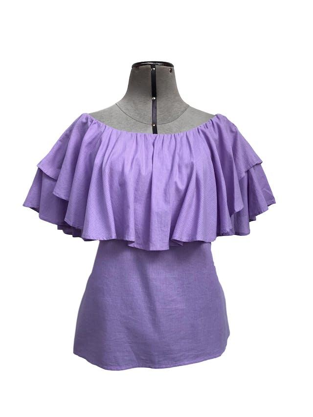Blusa Bohem lila con rayas al tono, off shoulder con volantes, suelta, tela rica al tacto tipo algodón foto 1