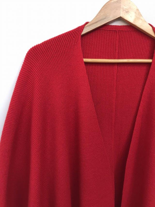 Poncho tejido de punto rojo, cuadrado grande, se puede usar abierto o cruzado Talla única (S/M/L) foto 2