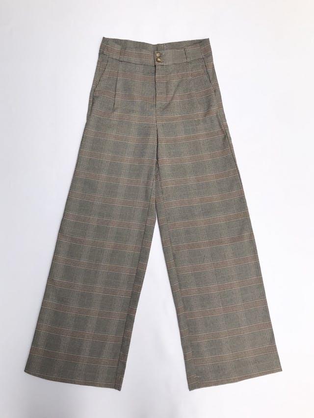 Pantalón palazzo de tela tipo sastre principe de gales beige, negro y ocre, a la cintura, bolsillos y pinzas delanteras Talla 26 foto 1