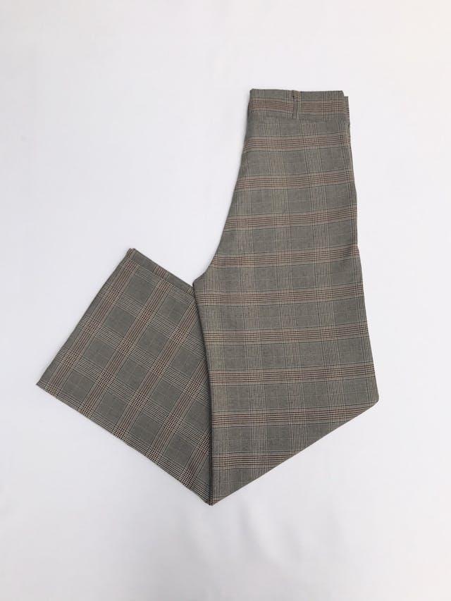 Pantalón palazzo de tela tipo sastre principe de gales beige, negro y ocre, a la cintura, bolsillos y pinzas delanteras Talla 26 foto 2
