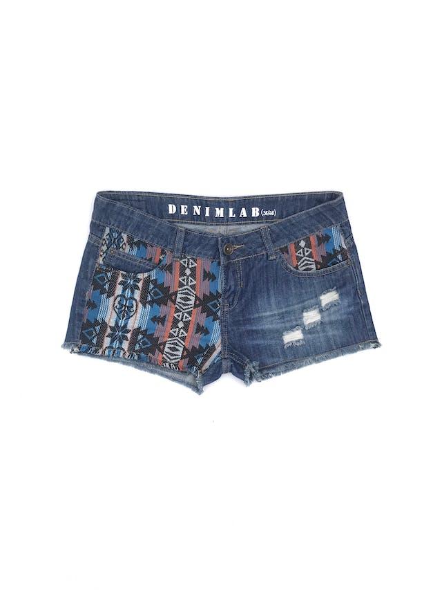 Short Denimlab denim azul con parches tribales, rasgados y focalizado, bolsillos delanteros y posteriores Talla 28 foto 1
