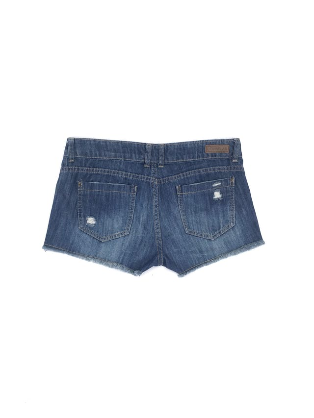 Short Denimlab denim azul con parches tribales, rasgados y focalizado, bolsillos delanteros y posteriores Talla 28 foto 2
